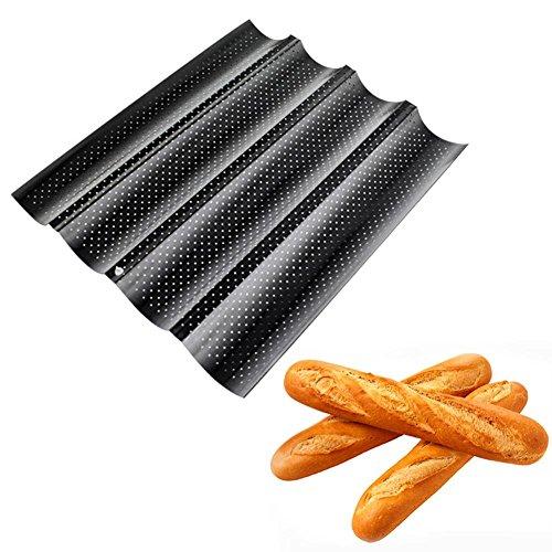 Baguetteblech Backbleche Backform wellenförmig Antihaft-Beschichtung Ofenblech 4 Einheiten baguette baking tray 33x33x2.4cm Schwarz
