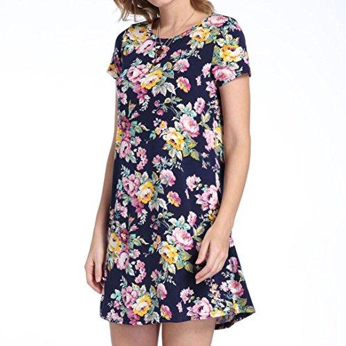 KaloryWee Kleider Damen Kurz Sleeve Vintage Boho Maxi -