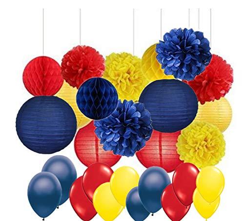lishistudio 45 Stück gelb, Marineblau, rot, Seidenpapier, Papierlaternen und Latexballon für Hochzeit, Festival, Dekorationen, Geburtstag, Party, Babyparty, Brautparty, Dekoration, Fotohintergrund.