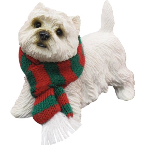 Sandicast West Highland White Terrier with Red and Green Scarf Christmas Ornament -