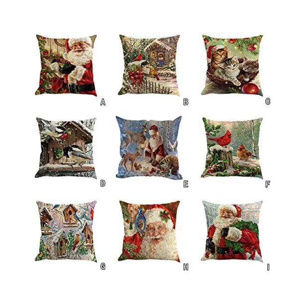 IJKLMNOP Christmas Pillow Square Pillow Case Lino Mat 45x45cm es Adecuado para oficinas, Casas, automóviles, cafeterías… 8