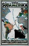 Blechschild Nostalgieschild Hamburg Süd Dampfer Landkarte Südamerika