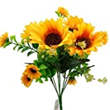 2x 30cm künstlicher Strauß mit Sonnenblumen mit viel Blattwerk–Zuhause, Hochzeitstag, Grabschmuck
