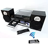 Steepletone Broadway 5 in 1 Bluetooth music centre with CD,FM radio,3 speed Record player has facility to burn vinyl or CD to USB