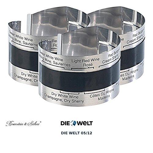 Rosenstein & Söhne Wein-Außenthermometer: Praktisches Flaschen-Thermometer für Wein, Sekt, Saft u.v.m., 3er-Set (Thermometer für Wein, Rotwein, Rosé, Sherry,)