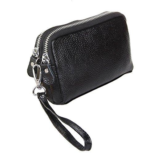Aiklin Damen Leder Doppel Reißverschluss Portemonnaie Multifunktional Geldbörse Handgelenktasche (Schwarz)