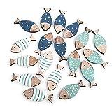 Logbuch-Verlag 18 Mini-Fische Streuteile Fische 6 cm blau türkis Natur Streuartikel Streudeko Maritime Deko Taufe Kommunion Tischdeko Holzfische klein