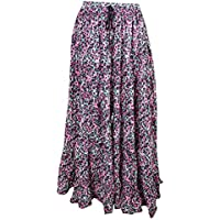 Mogul Interior Boho Chic Designs Womans Long Skirt Printed Glowing Persona Pink Passion Tiered Sexy Gypsy Flare Skirts L