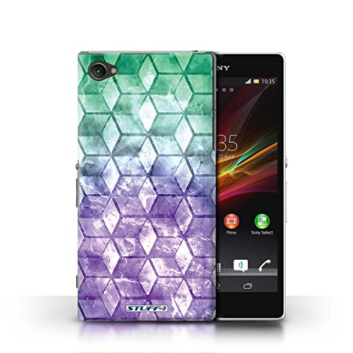 Kobalt® Imprimé Etui / Coque pour Sony Xperia Z1 Compact / Bleu/rose conception / Série Cubes colorés Vert/Violet