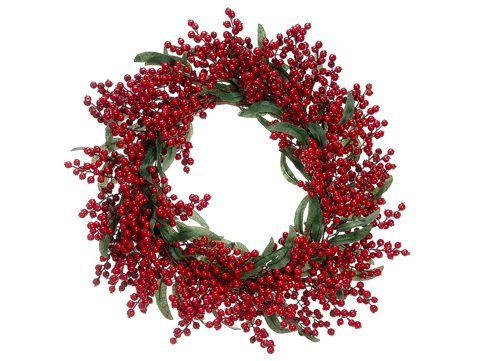 22 Holly Berry Eucalyptus Leaf Artificial Christmas Wreath - Unlit by Allstate