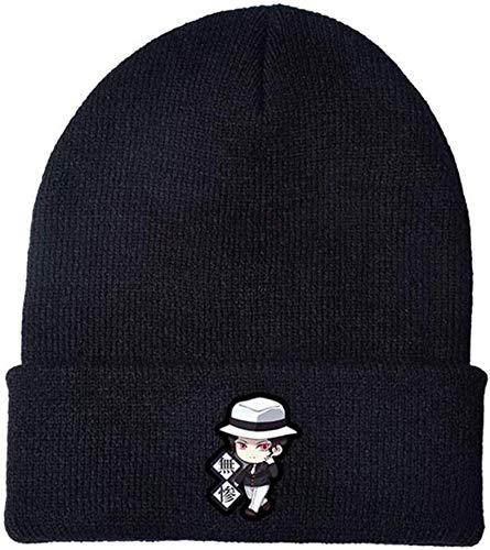 restmidable55 Anime Demon Slayer Mütze, Baumwolle Gestrickt Gesticktes Logo Kappe Dehnbar Winter Bonnet, Strickerei Kappe für Kinder Teenager Erwachsene und Anime-Fans - H10
