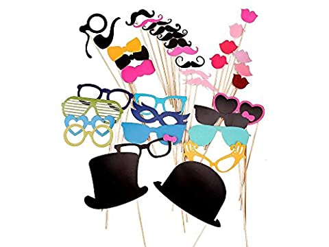 36 Pcs Colourful Party Props Photo Booth on Sticks DIY Funny for Wedding, Birthday, Christmas, Graduation by Trimming