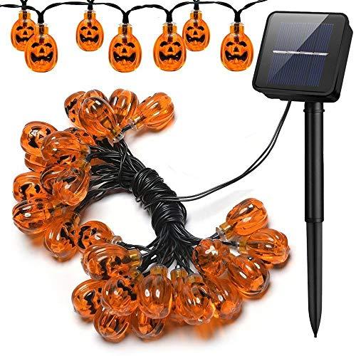 Mmsww Calabaza Lámpara Solar Cadena Halloween Decorativo