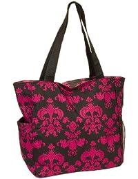 Women'S Black & Pink Floral Damask Scroll Print Beach Shopper Tote Bag By Gen Sh