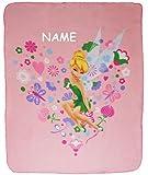 alles-meine.de GmbH Kuscheldecke / Fleecedecke -  Disney Fairies - Tinkerbell  - incl. Name - 110 cm * 140 cm - Decke aus Fleece - für Mädchen Fairy / Erwachsene - Schmusedecke..