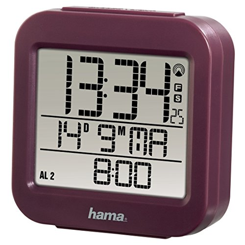 """Hama Funk Wecker """"RC 130"""" (zwei Weckzeiten, Snooze, Speed Alarm, Thermometer und Kalender) Funkwecker aubergine"""
