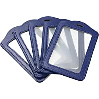 5PCS Bleu PU Porte-Badges ID Carte Vertical Badge Carte Cr¨¦dit Housse