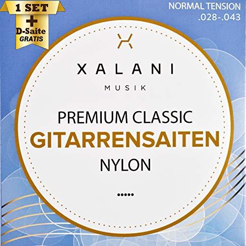 XALANI Gitarrensaiten Konzertgitarre I ★ Extra D-Saite Gratis ★ I Nylon Saiten Set für Klassische Gitarre und Akustikgitarre