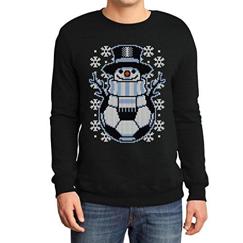 chtspullover Männer Fussball Schneemann Winter Sweatshirt Medium Schwarz (Ugly Christmas Sweater Ideen)