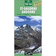 Andorre - Saint-Gaudens. Carte n° 71 - échelle : 1 cm = 1 km