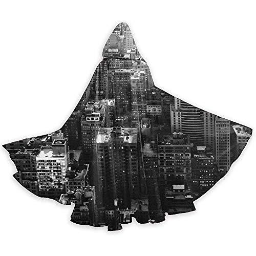 Schwarz Und Weiß New York City Erwachsene Tunika Mit Kapuze Ritter Halloween Mantel Robe Kostüm Weihnachten, 59 Zoll (150,40 (Halloween City Kostüm Für Erwachsene)