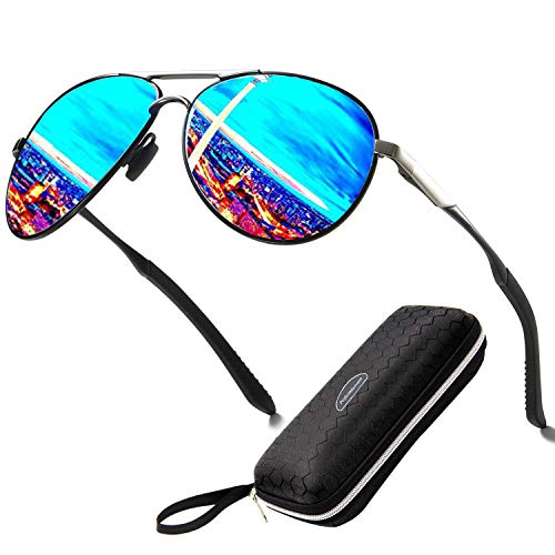Perfectmiaoxuan Polarisierte Sonnenbrille Herren Damen Metall Großer Rahmen/Radfahren Golf Fahren Angeln Klettern Sommer Outdoor-Sportarten Mode Sonnenbrille (blue)