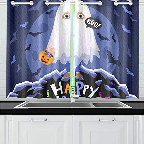 JIUCHUAN Happy Halloween Boy Halloween-Kostüm auf Küchenvorhängen Fenster Vorhangebenen für Café, Bad, Wäscherei, Wohnzimmer Schlafzimmer 26 X 39 Zoll 2 Stück