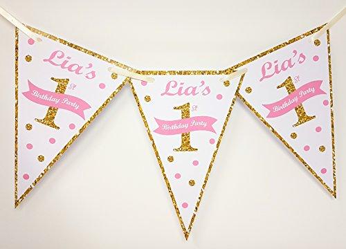 J&R Boutique Personalisierte Geburtstags-Banner Bunting-für Kinder-verschiedene Farben-1, gold, Glitter