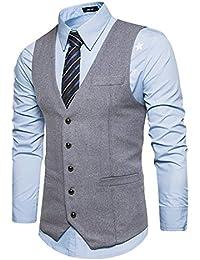 YCUEUST Moda Chaleco Hombre Sin Mangas Casual Slim Gentleman Waistcoat 8Nd90olSy6