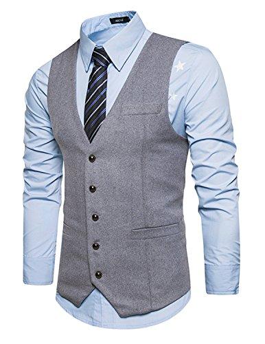 Leisure Élégant Homme Gilet Costume Veste Slim Fit Sans Manches Business Mariage(Sans chemise),Gris 1,L