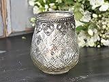 Chic Antique Windlicht Teelichthalter Kerzenglas Metalldekor Glas Vintage H 10 cm