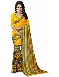 Harikrishnavilla Women's Bhagalpuri Silk Georgette Dupatta Saree With Blouse Piece (Br-Spring Yellow_Yellow)