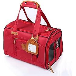 BIGWING Style-Bolsa de Transporte para Mascotas/Perros/Gatos Transportín Bolso Bandolera, 41x28x28CM, Rojo
