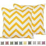 comoco® 2pc-pattern Dekorative geometrische starker Leinwand Kissenbezüge Kissenbezug für Sofa Überwurf Kissen Fall, gelb, 50x50cm
