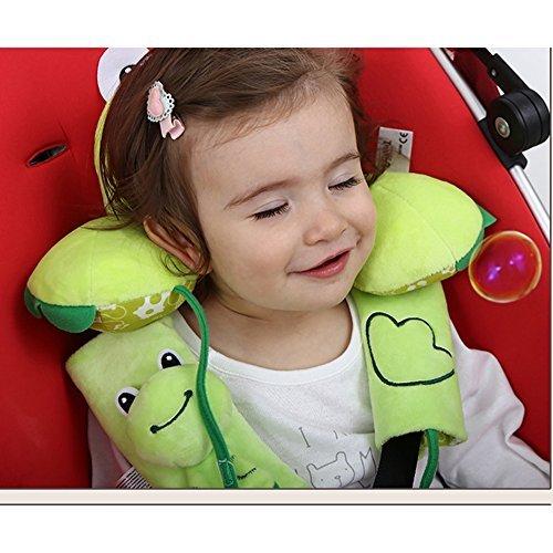 Inchant Baby Kleinkinder Kopf Nackenstütze Kopfstütze und Sicherheitsgurt Abdeckband - Cartoon Green Frog - 1-4 Jahr - Cartoon Kopf