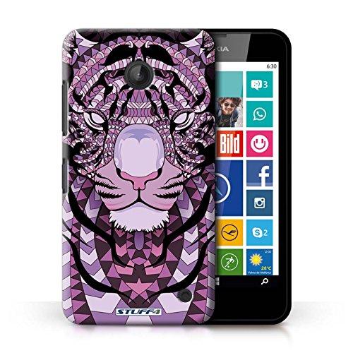 Coque en plastique pour Nokia Lumia 630 Collection Motif Animaux Aztec - Loup-Sépia Tigre-Pourpre