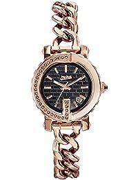 Relojes Mujer–Jean Paul Gaultier–Punto G Mini–acero PVD Rosé + piedras–pulsera acero PVD Rosé piel negro–28mm–8503603