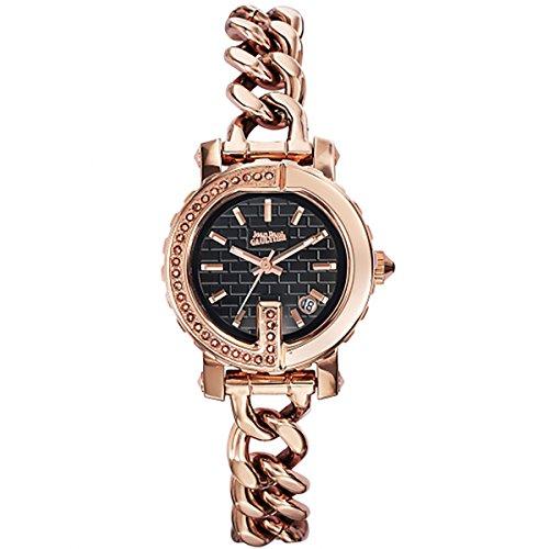 Orologi Donna–Jean Paul Gaultier–Punto G Mini–Acciaio Pvd Rosé + pietre–Bracciale Acciaio PVD Rosé Pelle Nero–28mm–8503603