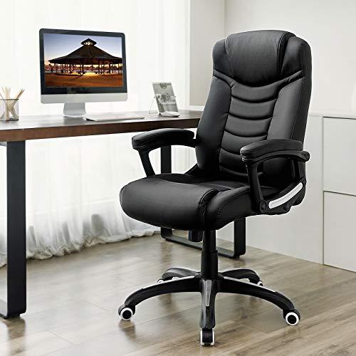 Songmics schwarz Bürostuhl Chefsessel Bürodrehstuhl hoher sitzkomfort OBG21B - 2