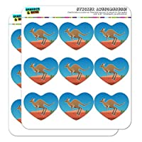 Kangaroo Hopping in The Australian Outback Heart Shaped Planner Calendar Scrapbook Craft Stickers