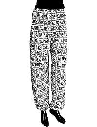 DollsofIndia Black Folk Art Print On White Cotton Harem Pants - Length - 43 Inches - White