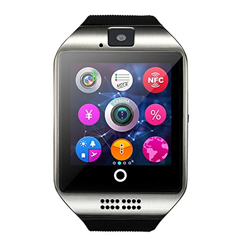 1.54 Inch Bluetooth SmartWatch Q18 Wristwatch Support NFC Camera TF Card Smart Watch for Android Phone IOS iphone Huawei Samsung(Silver)