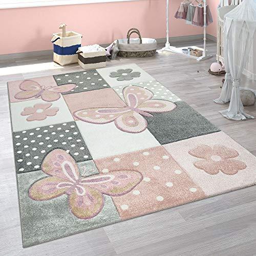 Paco Home Kinder Teppich Kinderzimmer Bunt Rosa Schmetterlinge Karo Muster Punkte Blumen, Grösse:140x200 cm