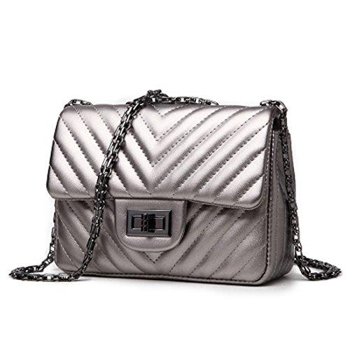 Damen Tasche Crossbody Umhängetasche Handtasche Kette PU ( Color : Rosa ) (Leuchtend Rosa Wickeltasche)
