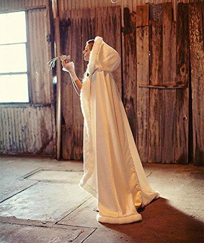 CoCogirls Warm Winter Pelz Lang Braut Mantel Bolero Umhang Brautstola Schal Stola für Brautkleid Hochzeitskleid Weiß