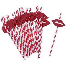 25pcs Labios Rojos Bar De Verano Del Partido Decoración Caliente Pajas De Beber Colorido Cóctel