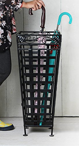 Christmas Gifts, Iron Umbrella Stand Rack Walking Canes Holder In Black Cage Design Best For Home Garden Hall Office Decor Display Furniture Multipurpose Storage Box