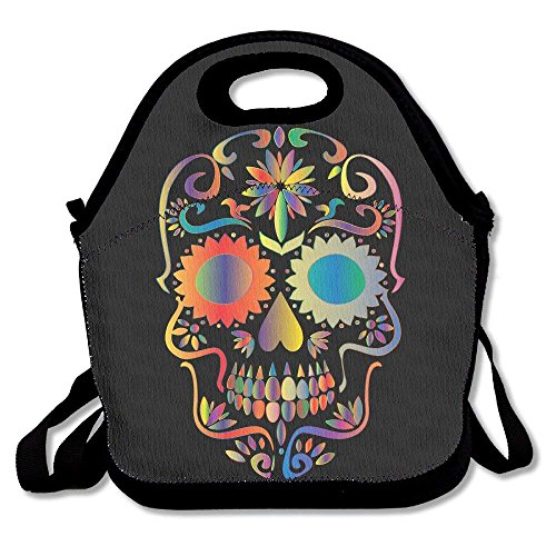 Girls Boys Food Lunch Tote Prismatic Sugar Skull Silhouette Picnic School Work Portable Reusable Handbag Bags Boxes Lunchbox Outdoor Totes -