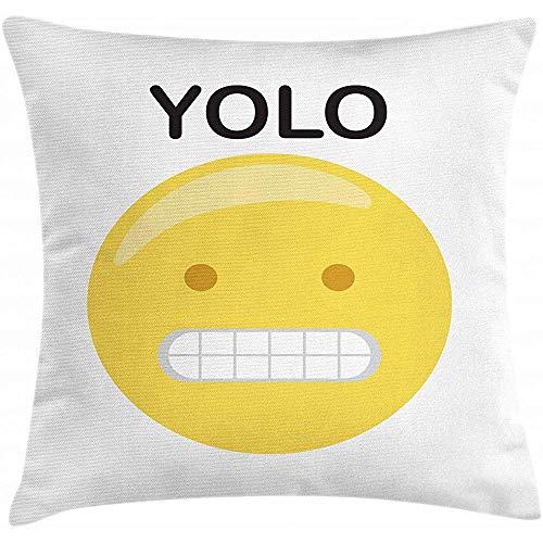 2Stück YOLO Dekokissen Kissenbezug, lustiges Emoji-Gesicht und Abkürzung des Lebens Worte zeitgenössische Elemente, dekorative quadratische Akzent Kissenbezug, 18 'x 18', gelb schwarz und weiß -