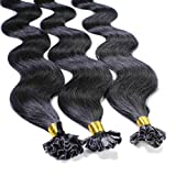 hair2heart 25 x 1g Extension Capelli Veri Cheratina, ondulato - 60cm - #1 nero